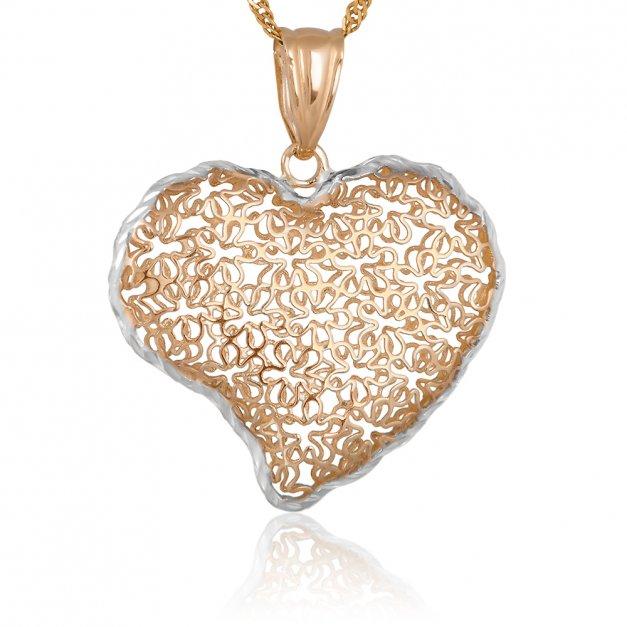 Złoty Komplet 585 Łańcuszek z Sercem GRAWER ZZ141