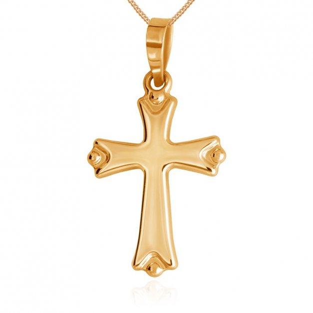 Złoty Krzyżyk 333 Trójlistny z Łańcuszkiem Grawer