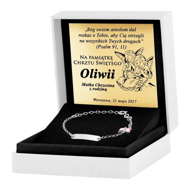 Srebrna Bransoletka 925 Różowy Motylek ID Grawer
