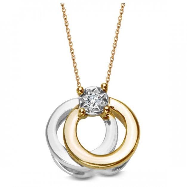 Złota zawieszka 585 z diamentem prezent grawer