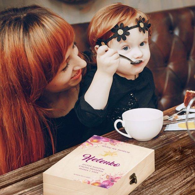 Zestaw Sztućców Dla Dzieci W Drewnianym Etui Nadruk Wróżka