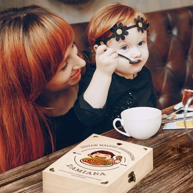 Zestaw Sztućców Dla Dzieci W Drewnianym Etui Nadruk Spaghetti