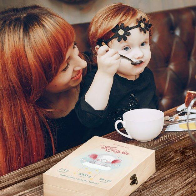 Zestaw Sztućców Dla Dzieci W Drewnianym Etui Nadruk Słonik