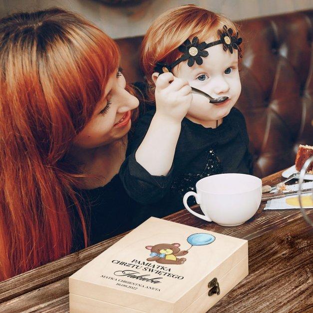 Zestaw Sztućców Dla Dzieci W Drewnianym Etui Nadruk Pluszowy Miś
