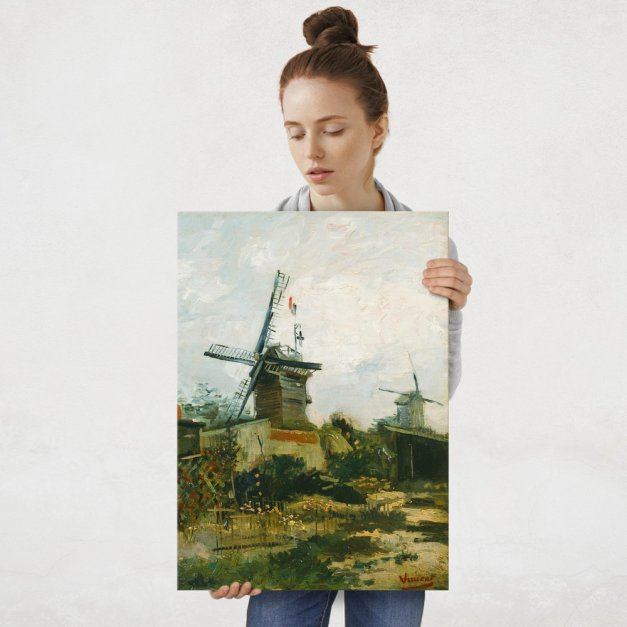 Plakat metalowy Vincent Van Gogh Windmills on Montmartre L