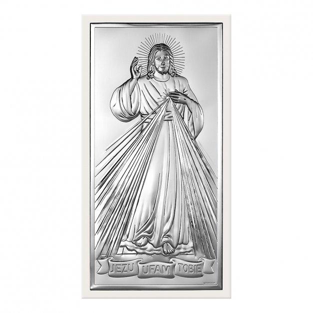Obrazek Srebrny BIANCO Jezus Miłosierny GRAWER
