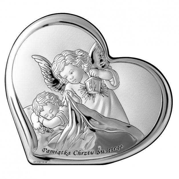 Obrazek Srebrny Anioł Stróż 14cm GRAWER