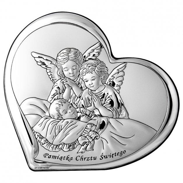 Obrazek Srebrny Aniołki 14cm GRAWER