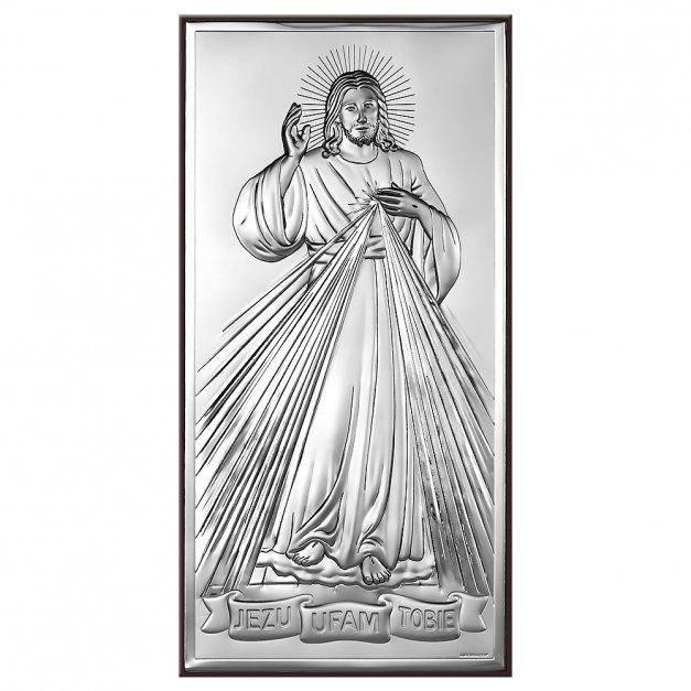 Obrazek Srebrny Jezus Miłosierny GRAWER