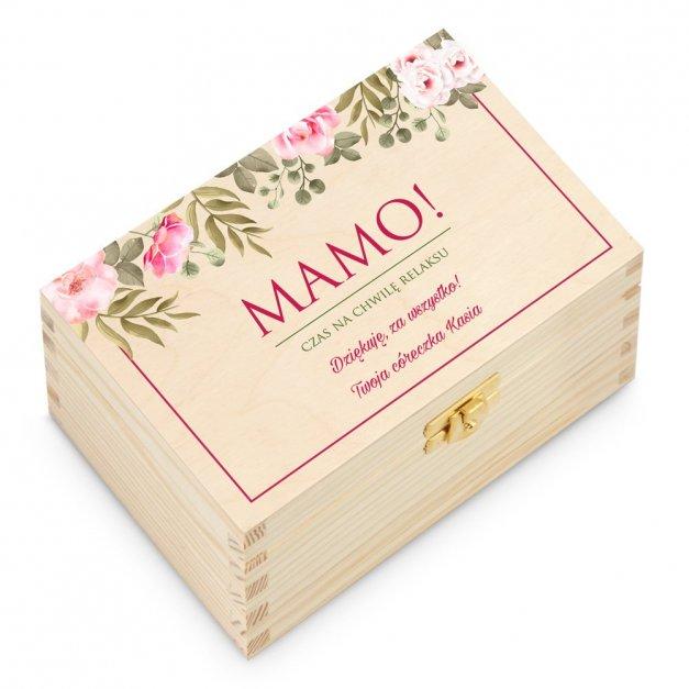 Herbata w Drewnianej Skrzynce z Nadrukiem Dla Mamy