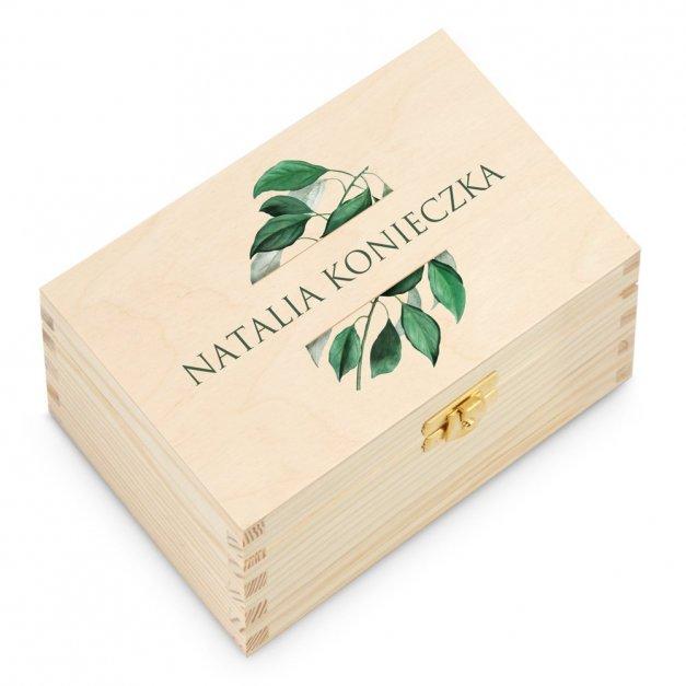 Herbata w Drewnianej Skrzynce z Nadrukiem Natural