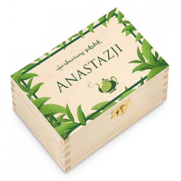 Herbata w Drewnianej Skrzynce z Nadrukiem Zakątek