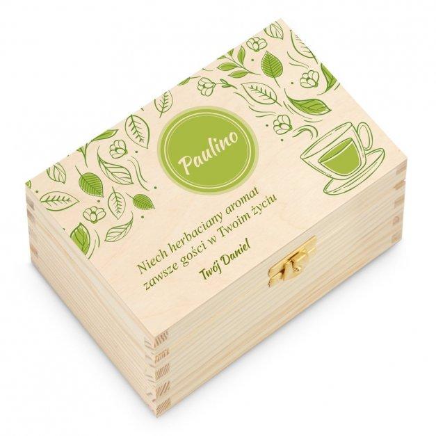 Herbata w Drewnianej Skrzynce z Nadrukiem Aromat