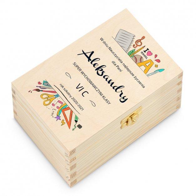 Herbata w Drewnianej Skrzynce z Nadrukiem Dla Nauczyciela