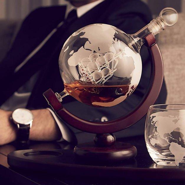 Zestaw Do Whisky Karafka GLOBUS 2 szklanki + Grawer