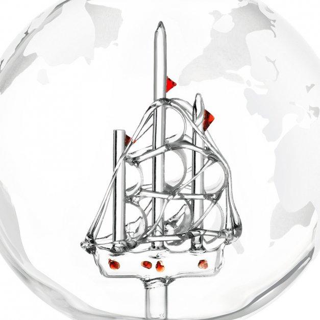 Karafka szklana ze statkiem do whisky z 4 szklankami zestaw z grawerem dla niego gentlemana