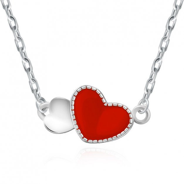 Srebrny Naszyjnik 925 Czerwone Serce Grawer