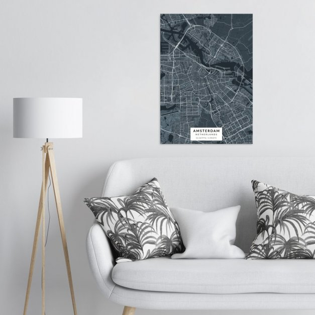 Plakat metalowy Mapa Navy  Amsterdam L