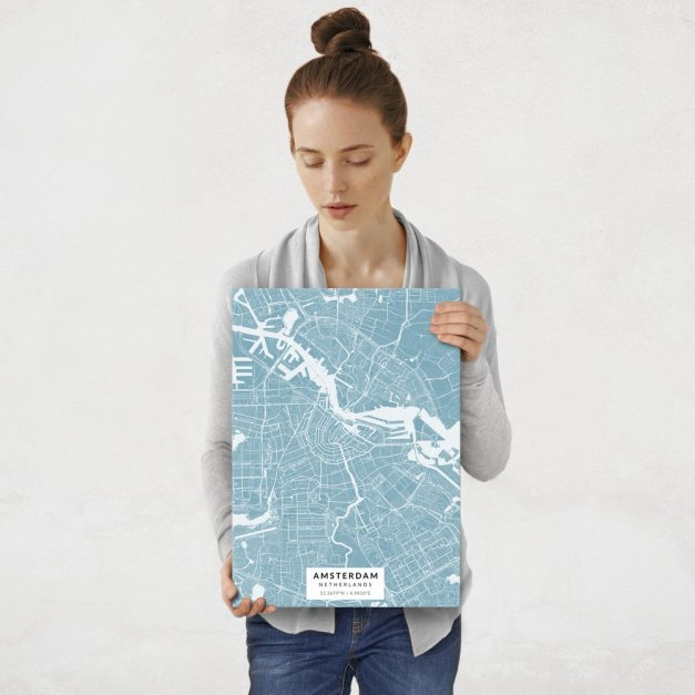 Plakat metalowy Mapa Lazur Amsterdam M