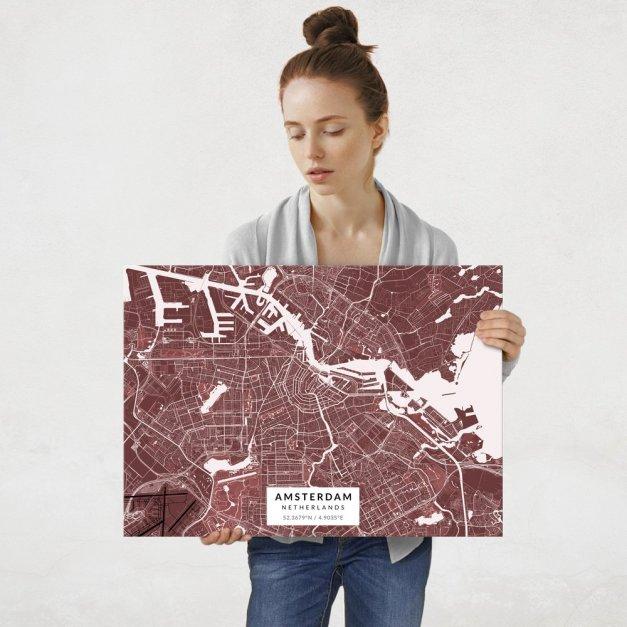 Plakat metalowy Mapa Burgund Amsterdam L