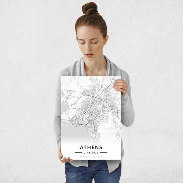Plakat metalowy Mapa B&W Ateny M