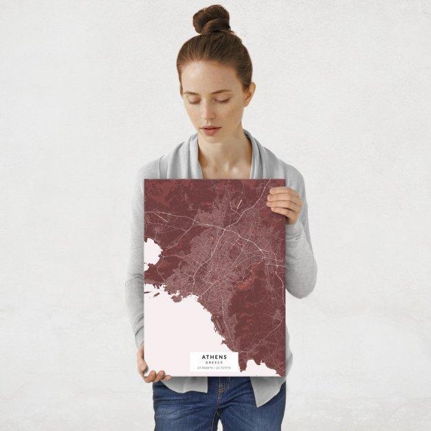 Plakat metalowy Mapa Burgund Ateny M