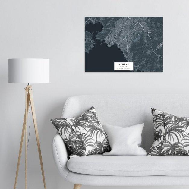 Plakat metalowy Mapa Navy Ateny L