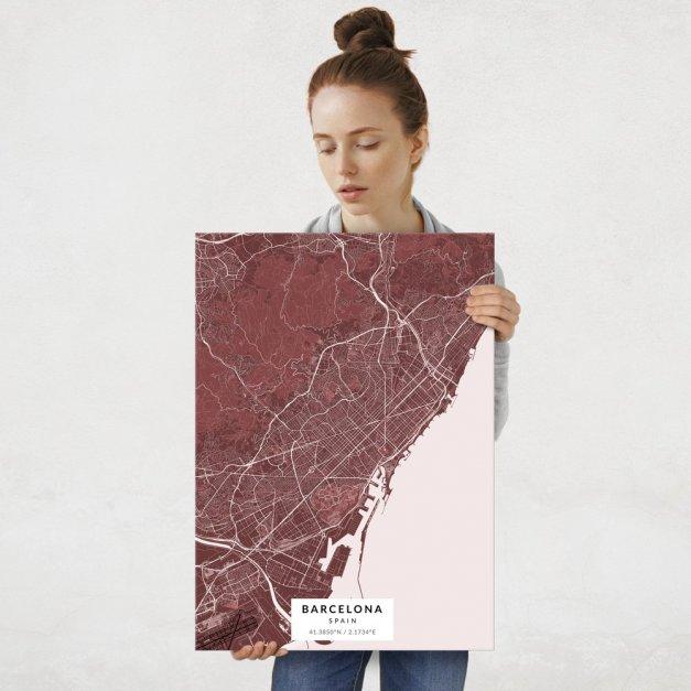 Plakat metalowy Mapa Burgund Barcelona L