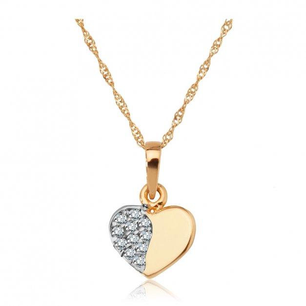 Złoty Komplet 585 Łańcuszek z Zawieszką Serce Cyrkonie Grawer