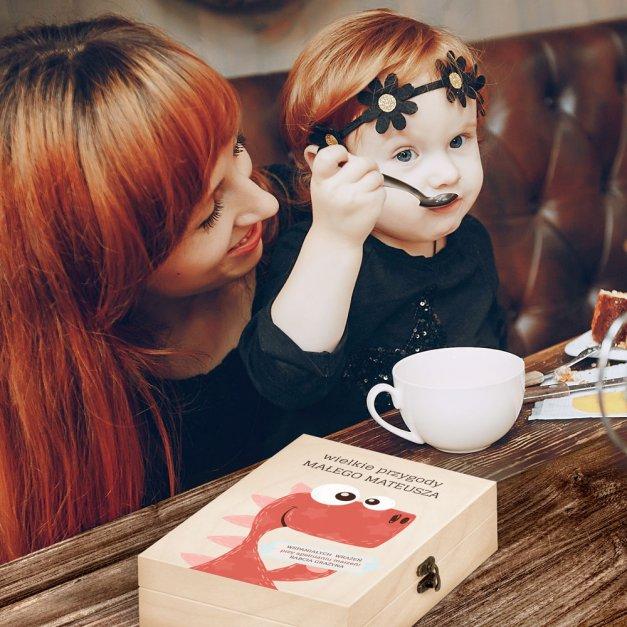 Zestaw Sztućców Dla Dzieci W Drewnianym Etui Nadruk Dino Disney Mouse Myszka Minnie