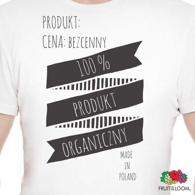 Koszulka Męska z Twoim Nadrukiem PRODUKT ORGANICZNY