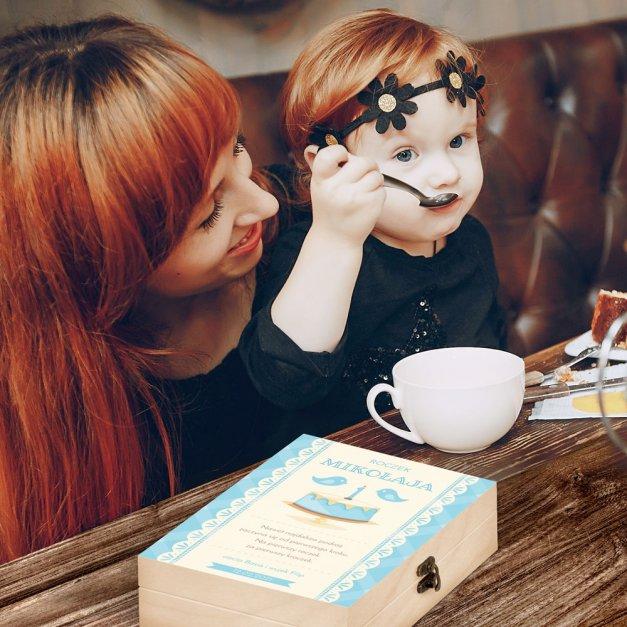 Zestaw Sztućców Dla Dzieci W Drewnianym Etui Nadruk Tort Roczek Disney Mouse Myszka Minnie