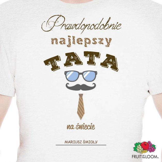 Koszulka Męska z Twoim Nadrukiem NAJLEPSZY TATA