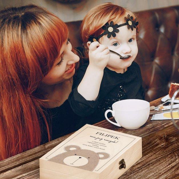 Zestaw Sztućców Dla Dzieci W Drewnianym Etui Nadruk Miś Disney Mouse Myszka Minnie