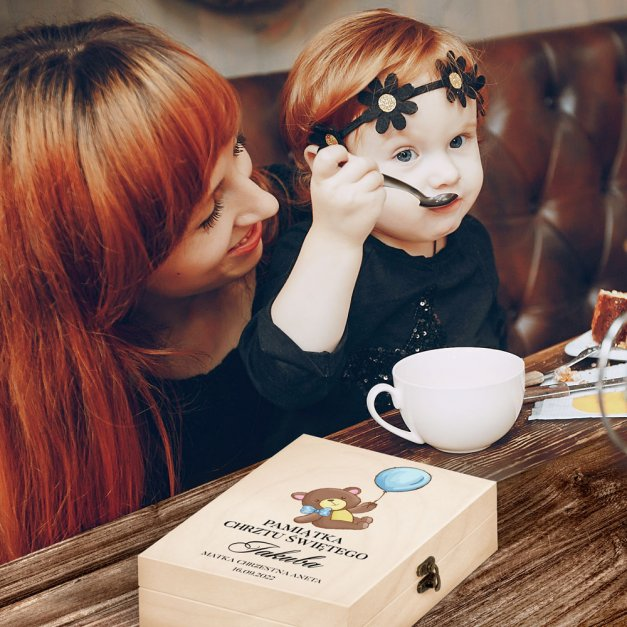 Zestaw Sztućców Dla Dzieci W Drewnianym Etui Nadruk Pluszowy Miś Disney Mouse Myszka Minnie
