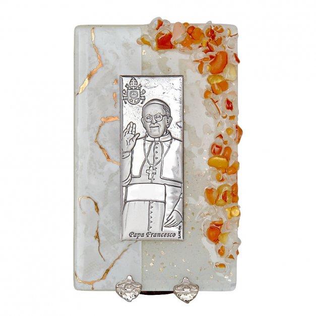 Obrazek Srebrny Papież Franciszek GRAWER