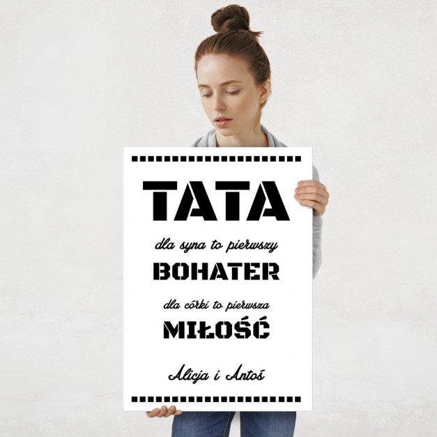 Plakat metalowy Tata Bohater L
