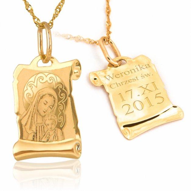 Złoty Komplet 585 Matka z Dzieciątkiem GRAWER ZZ01