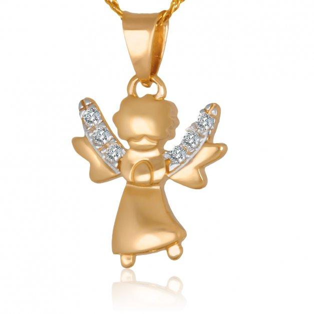 Złoty Komplet 585 Łańcuszek z Aniołkiem GRAWER ZZ02