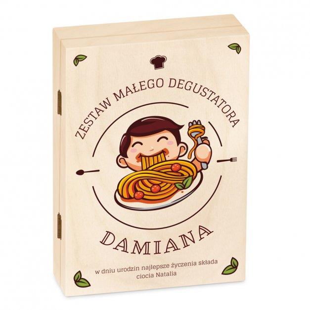 Zestaw Sztućców Dla Dzieci W Drewnianym Etui Nadruk Spaghetti Paw Psi Patrol