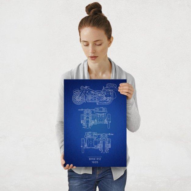 Plakat metalowy BMW R12 Projekt Blueprint M