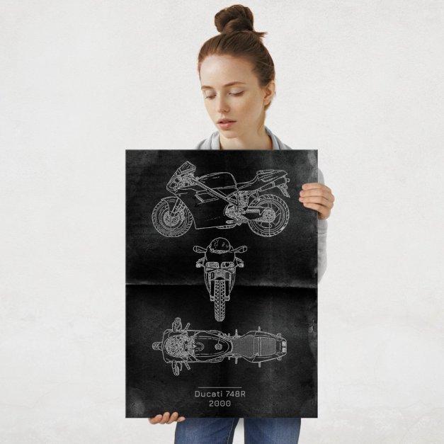 Plakat metalowy Ducati 748R Projekt Graphite L