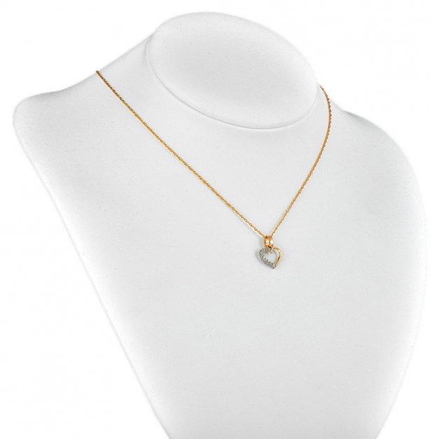 Złoty Łańcuszek z Zawieszką Serce 333 GRAWER ZZ19
