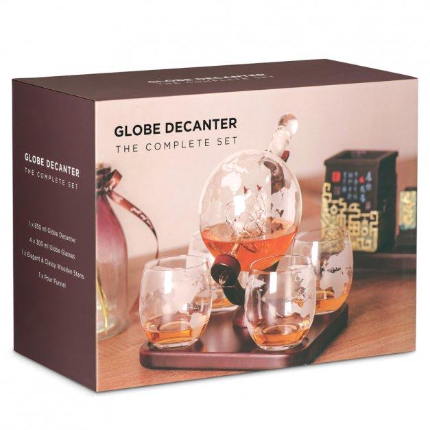 Zestaw do whisky karafka z grawerem GLOBUS 4 szklanki Koneser