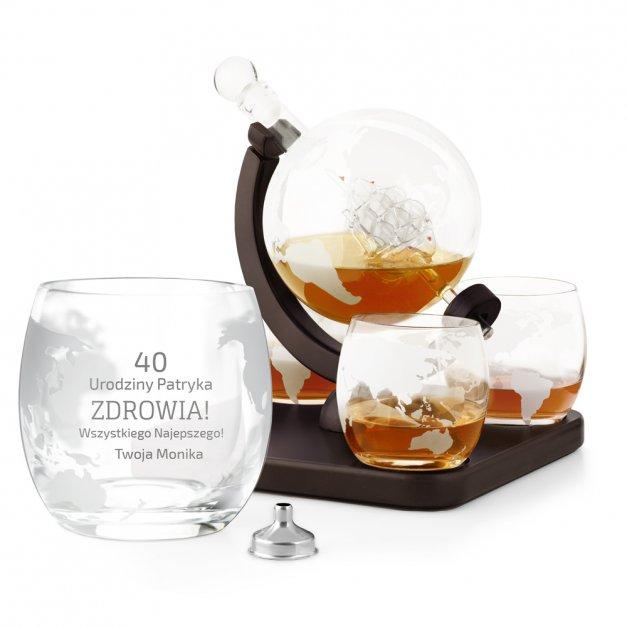 Karafka szklana ze statkiem do whisky z 4 szklankami zestaw z grawerem dla niego na 40 urodziny