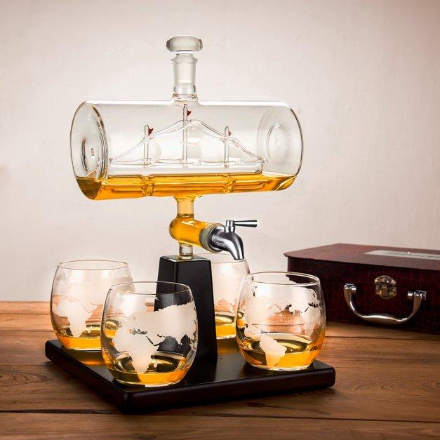 Zestaw do whisky karafka statek szklanki x4 grawer dla fana motoryzacji motocyklisty na urodziny