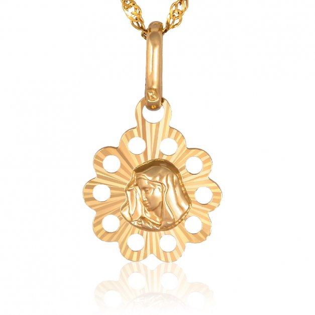 Złoty Łańcuszek 585 z Matka Boska GRAWER ZZ30