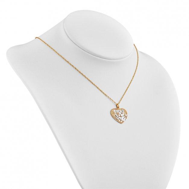 a23f06391638c4 Złoty Komplet 333 Łańcuszek z Zawieszką Ażurowe Serce Grawer | MURRANO
