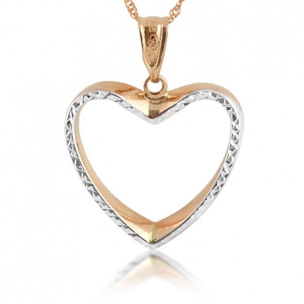 Złoty Łańcuszek z Serduszkiem 585 GRAWER ZZ56