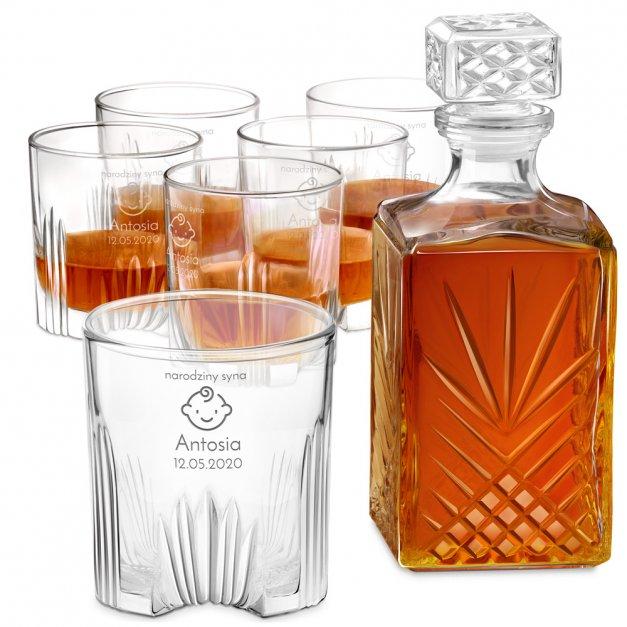 Karafka kryształowa do whisky z 6 szklankami zestaw z grawerem na narodziny syna pępkowe
